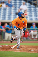 St. Lucie Mets catcher Ali Sanchez (25) runs to first base during a game against the Clearwater Threshers on August 11, 2018 at Spectrum Field in Clearwater, Florida.  St. Lucie defeated Clearwater 11-0.  (Mike Janes/Four Seam Images)