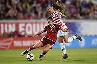 Jacksonville, FL - Thursday April 5, 2018: Bianca Sierra, Alex Morgan during an International friendly match versus the women's National teams of the United States (USA) and Mexico (MEX) at EverBank Field.