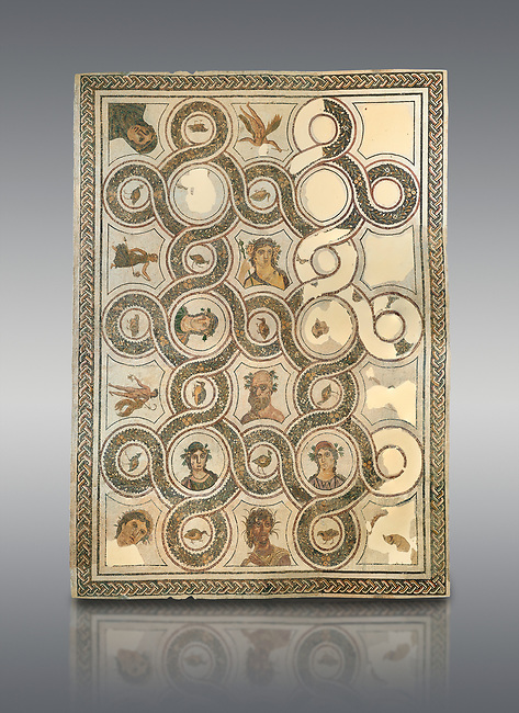 Picture of a Roman mosaics design depicting Sileuns and two of the Four Seasons, from the ancient Roman city of Thysdrus. 3rd century AD. El Djem Archaeological Museum, El Djem, Tunisia.