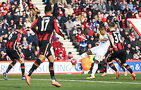 Wayne Routledge of Swansea City has a shot during the Barclays Premier League match between AFC Bournemouth and Swansea City played at The Vitality Stadium, Bournemouth on March 11th 2016