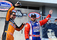 Sept. 25, 2011; Ennis, TX, USA: NHRA top fuel dragster driver Shawn Langdon (right) with Spencer Massey during the Fall Nationals at the Texas Motorplex. Mandatory Credit: Mark J. Rebilas-