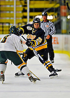 16 November 2008: Merrimack College Warriors' forward Ryan Flanigan, a Freshman from Rochester, NY, in action against the University of Vermont Catamounts at Gutterson Fieldhouse, in Burlington, Vermont. The Catamounts defeated the Warriors 2-1 in front of a near-capacity crowd of 3,813...Mandatory Photo Credit: Ed Wolfstein Photo