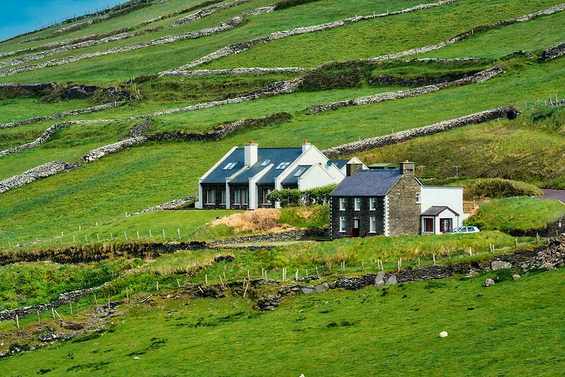 Stone fences with house Slea Head Drive. County Kerry, Ireland