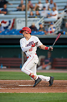 Auburn Doubledays center fielder Cody Wilson (19) at bat during a game against the Lowell Spinners on July 13, 2018 at Falcon Park in Auburn, New York.  Lowell defeated Auburn 8-5.  (Mike Janes/Four Seam Images)