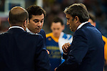 Herbalife Gran Canaria's coach Luis Casimiro talking with his assistants during the final of Supercopa of Liga Endesa Madrid. September 24, Spain. 2016. (ALTERPHOTOS/BorjaB.Hojas)