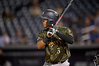 Tampa Tarpons Oswaldo Cabrera (3) at bat during a Florida State League game against the Daytona Tortugas on May 18, 2019 at George M. Steinbrenner Field in Tampa, Florida.  Daytona defeated Tampa 7-6.  (Mike Janes/Four Seam Images)