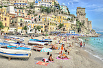 Relaxing on the beach in Cetara, Amalfi Coast, Italy