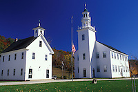 Washington, NH, New Hampshire, Center School and Meeting House in the village of Washington in the autumn.