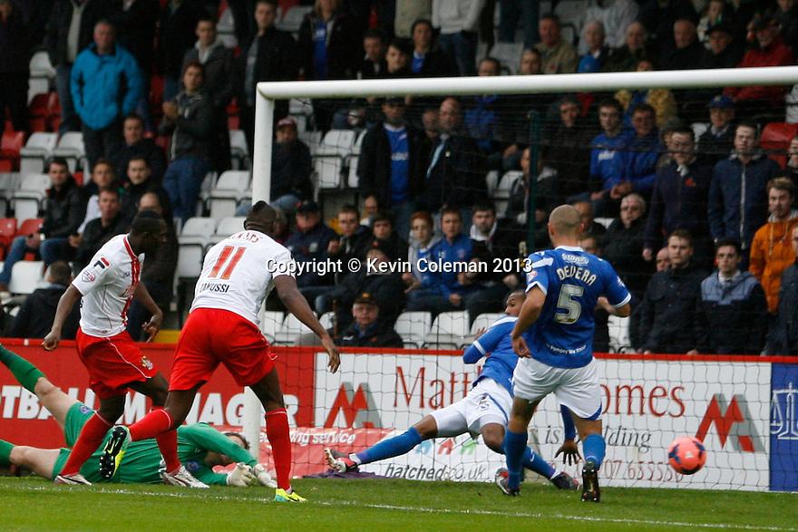 Francis Zoko of Stevenage scores the opening goal<br />  - Stevenage v Portsmouth - FA Cup 1st Round  - Lamex Stadium, Stevenage - 9th November, 2013<br />  © Kevin Coleman 2013