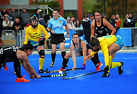 NZ's Tarryn Davey shoots for goal during the Sentinel Homes Trans Tasman Series hockey match between the New Zealand Black Sticks Women and the Australian Hockeyroos at Massey University Hockey Turf in Palmerston North, New Zealand on Sunday, 30 May 2021. Photo: Dave Lintott / lintottphoto.co.nz