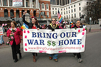 Celebration of the 100th anniversary of International Women's Day with a  Bring Our War Money Home Fund Main Street not Wall Street rally at the Boston MA statehouse and march through Boston Common sponsored by Boston Code Pink and the Women's International League for Peace and freedom 3.5.11