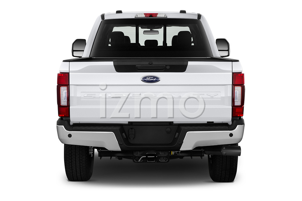 Straight rear view of 2021 Ford F-250-Super-Duty Lariat 4 Door Pick-up Rear View  stock images