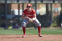 Miami Redhawks third baseman Brian Zapp (6) on defense against the Connecticut Huskies at Springs Brooks Stadium on March 5, 2021 in Conway, South Carolina. The Huskies defeated the Redhawks 5-0. (Brian Westerholt/Four Seam Images)