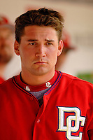 11 June 2006: Ryan Zimmerman, third baseman for the Washington Nationals, awaits his turn at bat in the dugout during a game against the Philadelphia Phillies at RFK Stadium, in Washington, DC. The Nationals shut out the visiting Phillies 6-0 to take the series three games to one...Mandatory Photo Credit: Ed Wolfstein Photo..