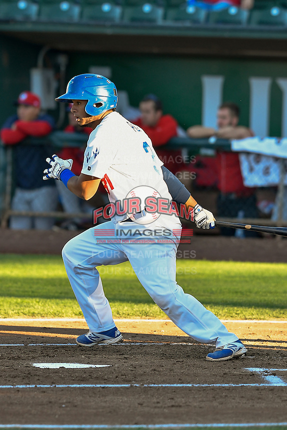 Keibert Ruiz (31) of the Ogden Raptors follows through on his swing against the Orem Owlz during the Pioneer League game at Lindquist Field on September 9, 2016 in Ogden, Utah. This was Game 1 of the Southern Division playoff. Orem defeated Ogden 6-5. (Stephen Smith/Four Seam Images)