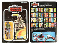 BNPS.co.uk (01202) 558833. <br /> Pic: VectisAuctions/BNPS<br /> <br /> Pictured: This Palitoy Star Wars The Empire Strikes Back vintage Boba Fett figure, with packaging adapted in factory, sold for £6,960. <br /> <br /> Three rare Star Wars toys still in their original packaging have sold for a combined £20,000.<br /> <br /> The 41-year-old toy figures are of Darth Vader, a Jawa and the cult bounty hunter Boba Fett.<br /> <br /> They were made by British toy manufacturers Palitoy to coincide with the release of the movie 1980 The Empire Strikes Back.