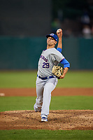 South Bend Cubs relief pitcher Ben Hecht (29) delivers a pitch during a game against the Kane County Cougars on July 23, 2018 at Northwestern Medicine Field in Geneva, Illinois.  Kane County defeated South Bend 8-5.  (Mike Janes/Four Seam Images)
