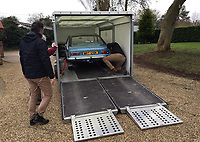 BNPS.co.uk (01202) 558833. <br /> Pic: AndrewLast/BNPS<br /> <br /> Pictured: The car being delivered back to the family. <br /> <br /> Pensioner Fred Last has bought back his beloved Ford Capri more than 20 years after he sold it.<br /> <br /> Fred, 92, bought the Mark One Capri from new in 1971 and it was his pride and joy for almost three decades.<br /> <br /> He regularly used the vehicle for family holidays and day trips before selling it in 1999, once his children had grown up.