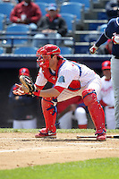 Reading Phillies catcher Tim Kennelly #19 in the field during a game against the New Hampshire Fisher Cats at FirstEnergy Stadium on May 5, 2011 in Reading, Pennsylvania.  New Hampshire defeated Reading by the score of 10-5.  Photo By Mike Janes/Four Seam Images