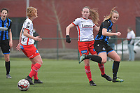 Noa Delhaye (12) of Zulte-Waregem and Lotte De Wilde (19) of Zulte-Waregem with Elle Decorte (7) of Club Brugge  pictured during a female soccer game between SV Zulte - Waregem and Club Brugge YLA on the 13 th matchday of the 2020 - 2021 season of Belgian Scooore Womens Super League , saturday 6 th of February 2021  in Zulte , Belgium . PHOTO SPORTPIX.BE   SPP   DIRK VUYLSTEKE