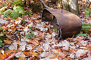 Artifact at Lambert Camp which was a logging camp located in the Oliverian Brook valley just below Square Ledge in Albany, New Hampshire. This was a logging camp of the Swift River Railroad (1906-1916). And this tub is considered to be an artifact. The removal of historic artifacts from federal lands without a permit is a violation of federal law.