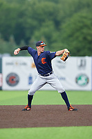 Connecticut Tigers shortstop Ryan Kreidler (12) throws to first base during a NY-Penn League game against the Auburn Doubledays on July 12, 2019 at Falcon Park in Auburn, New York.  Auburn defeated Connecticut 7-5.  (Mike Janes/Four Seam Images)
