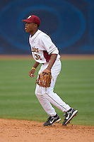 Second baseman Sherman Johnson #32 of the Florida State Seminoles on defense versus the Georgia Tech Yellow Jackets at Durham Bulls Athletic Park May 23, 2009 in Durham, North Carolina.  (Photo by Brian Westerholt / Four Seam Images)
