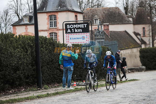 Romain Combaud (FRA) Nippo Delko Provence and Jonathan Hivert (FRA) Total Direct Energie out front during Stage 1 of the 78th edition of Paris-Nice 2020, running 154km from Plaisir to Plaisir, France. 8th March 2020.<br /> Picture: ASO/Fabien Boukla | Cyclefile<br /> All photos usage must carry mandatory copyright credit (© Cyclefile | ASO/Fabien Boukla)