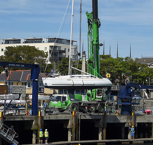 Yachts and boats at the Royal St. George Yacht Club and National Yacht Club at Dun Laoghaire Harbour will be lifted back in to the water for the 2021 season this weekend