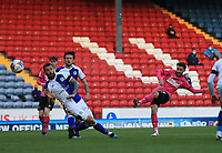 16th April 2021; Ewood Park, Blackburn, Lancashire, England; English Football League Championship Football, Blackburn Rovers versus Derby County; Patrick Roberts of Derby County shoots from the edge of the penalty area