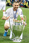 Real Madrid's Karim Benzema celebrates the victory in the UEFA Champions League 2015/2016 Final match.May 28,2016. (ALTERPHOTOS/Acero)