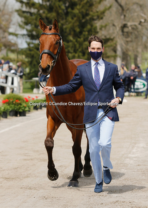 April 21, 2021: 49 Diachello and rider Jesse Campbell from New Zealand in the first horse veterinary inspection at the Land Rover Three Day Event at the Kentucky Horse Park in Lexington, KY on April 21, 2021.  Candice Chavez/ESW/CSM