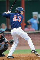 Elizabethton Twins left fielder Max Kepler #23 swings at a pitch during a game against the Greenville Astros at Joe O'Brien Field on August 21, 2012 in Elizabethton, Tennessee. The Twins  defeated the Astros 7-5 (Tony Farlow/Four Seam Images).
