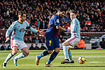 Luis Suarez of FC Barcelona (C) fights for the ball with Hugo Mallo Novegil of RC Celta de Vigo (L) during the La Liga 2017-18 match between FC Barcelona and RC Celta de Vigo at Camp Nou Stadium on 02 December 2017 in Barcelona, Spain. Photo by Vicens Gimenez / Power Sport Images
