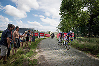 Former Belgian champion Yves Lampaert (BEL/Deceuninck-Quick Step) and defending champion Dries De Bondt (BEL/Alpecin-Fenix) crossing the gap to the breakaway group over the cobbles<br /> <br /> Belgian National Championships 2021 - Road Race<br /> <br /> One day race from Waregem to Waregem (221km)<br /> <br /> ©kramon