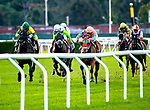 """Sep 29: Forty Under in the green cap closes on the outside with Manuel Franco """"up"""" to win the Pilgrim Stakes at Belmont Race Track in Elmont, N.Y. [Dan Heary/Eclipsesportswire/CSM]."""