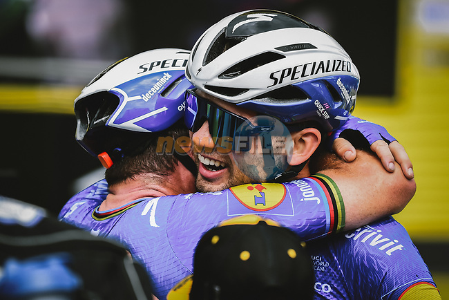 Mark Cavendish (GBR) and Kasper Asgreen (DEN) Deceuninck-Quick Step celebrate after Mark wins Stage 4 of the 2021 Tour de France, running 150.4km from Redon to Fougeres, France. 29th June 2021.  <br /> Picture: A.S.O./Pauline Ballet | Cyclefile<br /> <br /> All photos usage must carry mandatory copyright credit (© Cyclefile | A.S.O./Pauline Ballet)
