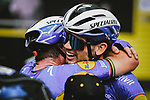 Mark Cavendish (GBR) and Kasper Asgreen (DEN) Deceuninck-Quick Step celebrate after Mark wins Stage 4 of the 2021 Tour de France, running 150.4km from Redon to Fougeres, France. 29th June 2021.  <br /> Picture: A.S.O./Pauline Ballet   Cyclefile<br /> <br /> All photos usage must carry mandatory copyright credit (© Cyclefile   A.S.O./Pauline Ballet)