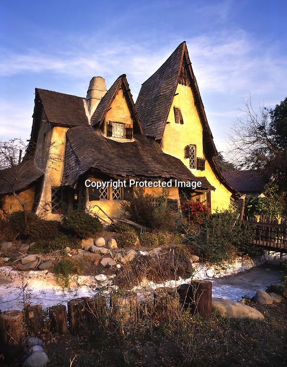 The ultimate Storybook Style home is the Spadena house (oft referred to as the Witch's house) in upscale Beverley Hills, California. Master Storybook style builder, Harry Oliver, who definitely had an aversion to straight lines designed the Spadena house. It started out its life as an office for a movie production studio in nearby Culver City. The house was used in a few movies then moved to its present location in 1926.