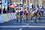 French Champion Arnaud Demare (FRA) Groupama-FDJ and Tim Merlier (BEL) Alpecin-Fenix cross the finish line the 73rd edition of Kuurne-Brussel-Kuurne 2021 running 197km from Kuurne to Kuurne, Belgium. 28th February 2021  <br /> Picture: Serge Waldbillig | Cyclefile<br /> <br /> All photos usage must carry mandatory copyright credit (© Cyclefile | Serge Waldbillig)