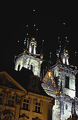 Prague, Czech Republic; night shot of the church of Our Lady Before Tyn on the Old Town Square (Stare Mesto).