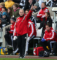 Swansea City first team coach Alan Curtis points upwards during the Barclays Premier League match between Swansea City and Norwich City played at The Liberty Stadium, Swansea on March 5th 2016