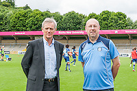 Trevor Stroud (right) during the Open Training Session in front of supporters during the Wycombe Wanderers 2016/17 Team & Individual Squad Photos at Adams Park, High Wycombe, England on 1 August 2016. Photo by Jeremy Nako.