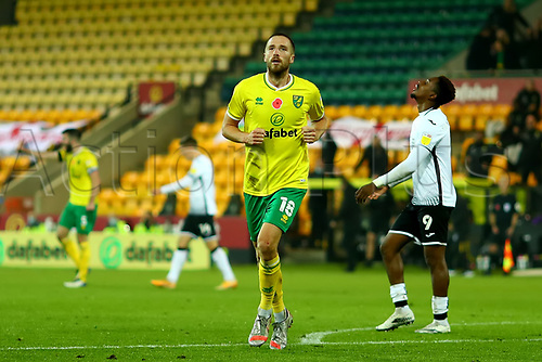 7th November 2020; Carrow Road, Norwich, Norfolk, England, English Football League Championship Football, Norwich versus Swansea City; Marco Stiepermann of Norwich City celebrates after he scores for 1-0 in the 84th minute
