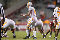 Tennessee quarterback Harrison Bailey (15) gestures, Saturday, November 7, 2020 during a football game at Donald W. Reynolds Razorback Stadium in Fayetteville. Check out nwaonline.com/201108Daily/ for today's photo gallery. <br /> (NWA Democrat-Gazette/Charlie Kaijo)