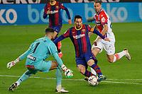 13th February 2021; Camp Nou, Barcelona, Catalonia, Spain; La Liga Football, Barcelona versus Deportivo Alaves; Leo Messi FC Barcelona takes on goalkeeper Pacheco of Deportivo