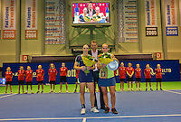 December 21, 2014, Rotterdam, Topsport Centrum, Lotto NK Tennis, Richel Hogenkamp (NED)  (R) winner and Bibianne Weijers runner up and in the middle technical director of the KNLTB Jan Siemerink<br /> Photo: Tennisimages/Henk Koster