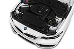 Car stock 2018 BMW 2 Series Sport 2 Door Coupe engine high angle detail view