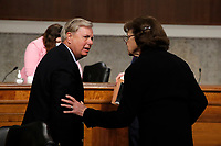 United States Senator Lindsey Graham (Republican of South  Carolina), Chairman, US Senate Judiciary Committee, talks with US Senator Dianne Feinstein (Democrat of California), Ranking Member, US Senate Judiciary Committee, after a US Senate Judiciary Committee business meeting to consider authorization for subpoenas relating to the Crossfire Hurricane investigation, and other matters on Capitol Hill in Washington, Thursday, June 11, 2020.<br /> Credit: Carolyn Kaster / Pool via CNP/AdMedia