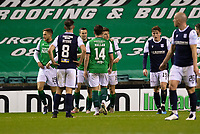 15th November 2020; Easter Road, Edinburgh, Scotland; Scottish League Cup Football, Hibernian versus Dundee FC; Kevin Nisbet of Hibernian is congratulated after scoring for 2-1 in the 76th minute